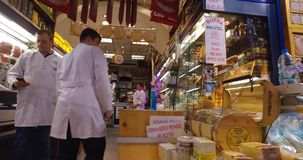 Egyptian Bazaar. STANBUL, TURKEY - 5 APRIL  2016: Egyptian market stores and pastry spice sweets and tea in Istanbul: April 5, 2016 in Istanbul, Turkey