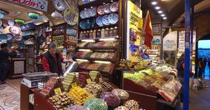 Egyptian Bazaar. STANBUL, TURKEY - 5 APRIL  2016: Egyptian market stores and pastry spice sweets and tea in Istanbul: April 5, 2016 in Istanbul, Turkey stock footage