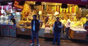 Egyptian Bazaar. STANBUL, TURKEY - 5 APRIL  2016: Egyptian market stores and pastry spice sweets and tea in Istanbul: April 5, 2016 in Istanbul, Turkey stock video
