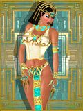 Egyptian Beauty. Egyptian princess on abstract gold and turquoise background, standing with her hand on her hips Royalty Free Stock Images
