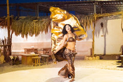 Egyptian belly dancer at performance Royalty Free Stock Image