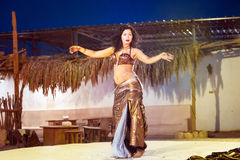Egyptian belly dancer at performance Royalty Free Stock Images