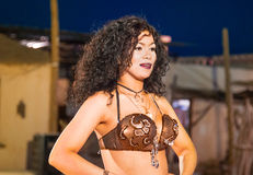 Egyptian belly dancer at performance Stock Images