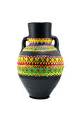 Egyptian black artistic painted pottery vessel Stock Photos