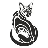 Egyptian Black cat dangerous looking tattoo drawing Stock Photography