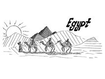 Egyptian black and white sketch with camels and desert royalty free illustration