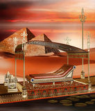 Egyptian boat and pyramids Stock Photography