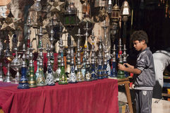Egyptian Boy, Street Vendor, Shisha Hookah Shop Stock Photography