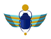 Egyptian bug-beetle with wings. Symbolism of ancient Egypt. Scarabeus beetle. Scarab bug Royalty Free Stock Photo