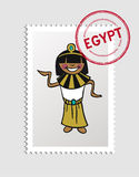 Egyptian cartoon person postal stamp Royalty Free Stock Images