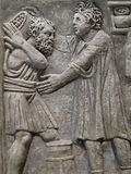 Egyptian carved bas relief of two men Royalty Free Stock Image