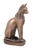 Egyptian cat Bastet figurine. Ancient Egyptian cat Bast or Bastet, solar and war goddess, isolated on white background with clipping path Stock Photography