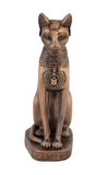 Egyptian cat Bastet figurine. Ancient Egyptian cat Bast or Bastet, solar and war goddess, isolated on white background with clipping path Stock Image