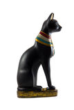Egyptian cat statuette. Decorated in national style isolated on white background stock photos
