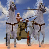 Egyptian Chariot. An Egyptian man takes his team of Arabian horses hitched to a chariot out in the desert stock illustration