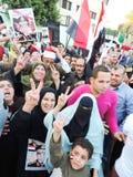 Egyptian Christian and Muslims share Egyptian revolution Stock Photos