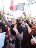 Egyptian Christian and Muslims share Egyptian revolution Stock Photo