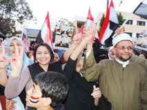 Egyptian Christian and Muslims share Egyptian revolution Royalty Free Stock Images