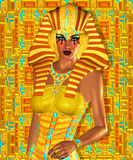 Egyptian, Cleopatra in our modern digital art style, close up. Royalty Free Stock Photo