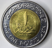 An Egyptian Coin. Close up Stock Photo