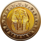 Egyptian coin featuring Pharaoh. Arab Republic of Egypt, the coin of 1 pound, shows the pharaoh Tutankhamen Royalty Free Stock Photos
