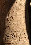 Egyptian column. Column with hieroglyphs at the Karnak temple in Luxor Royalty Free Stock Image