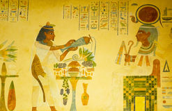 Egyptian concept with paintings. On the wall Stock Photography