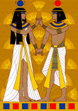 Egyptian Couple. Illustration of Egyptian couple: woman and man holding hand in hand Stock Photo