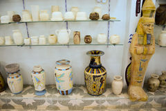 Egyptian crafts. Vase with hewn stone Royalty Free Stock Photos