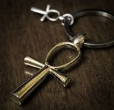 Egyptian Cross Ankh. Egyptian ankh cross on a dark background. Photo toned Royalty Free Stock Photography
