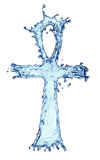 Egyptian cross Ankh made of water splash Stock Images