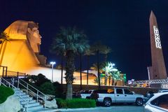 Egyptian decorative elements in front of Luxor Hotel from Las Vegas Stock Images