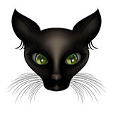 Egyptian deity shorthaired black cat with green eyes. Egyptian shorthaired black cat deity Royalty Free Stock Photo