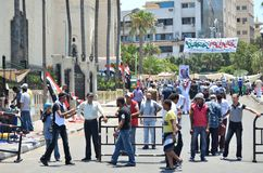 Egyptian demonstrations, citizen's check point Stock Photo