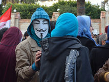 Egyptian demonstrator wearing mask Stock Photography