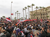 Egyptian demostrators in Alex royalty free stock photo