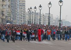 Egyptian demostrators in Alexandria Royalty Free Stock Image