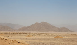 Egyptian Desert And Mysty Sky In The Daylight Stock Images