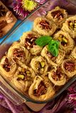 Egyptian dessert Kunafa made of kataifi dough with pistachio and pecan nuts in a glass baking dish. Top view Royalty Free Stock Photos