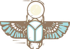 Egyptian Distressed Winged Scarab Stock Image