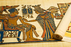 Egyptian drawings on scroll Royalty Free Stock Photography