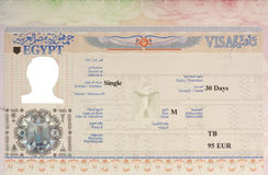 Egyptian entry visa. In a passport with photo and most details removed Stock Photos