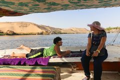 Egyptian family at Nile River. Beautiful nature of Nile River at Aswan, Egypt stock images
