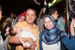 Egyptian family Sharing revolution Royalty Free Stock Image