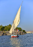 Egyptian felucca on the Nile River Stock Photos