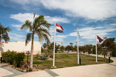 Egyptian flag on flagpole Stock Photo