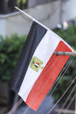 Egyptian Flag. Hanging from apartment balcony Stock Photography
