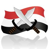Egyptian Flag and swords Stock Image