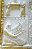 The Egyptian Gates under snow Stock Photo