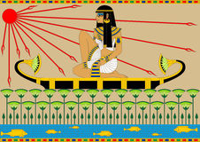 Egyptian Girl on the Boat. Illustration of an egyptian girl floating on the boat by the river Royalty Free Stock Photos